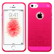 Perforated Transparent Cushion Gelli Case for iPhone SE / 5S / 5 - Hot Pink