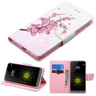 Executive Graphic Leather Wallet Case for LG G5 - Spring Flowers