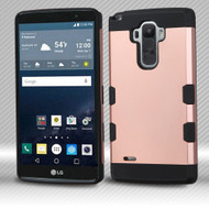 Military Grade Certified TUFF Trooper Dual Layer Hybrid Armor Case for LG G Stylo / Vista 2 - Rose Gold