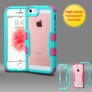 TUFF Vivid Hybrid Armor Case for iPhone SE / 5S / 5 - Teal Hot Pink