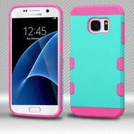 Military Grade Certified TUFF Trooper Dual Layer Hybrid Armor Case for Samsung Galaxy S7 - Teal Hot Pink