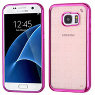 SPOTS Electroplated Premium Candy Skin Cover for Samsung Galaxy S7 - Hot Pink Rose Gold