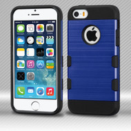 Military Grade Certified TUFF Trooper Dual Layer Hybrid Armor Case for iPhone SE / 5S / 5 - Brushed Blue