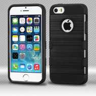 Military Grade TUFF Trooper Dual Layer Hybrid Armor Case for iPhone SE / 5S / 5 - Brushed Black