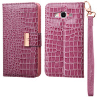 Crocodile Embossed Leather Wallet Case for Samsung Galaxy Grand Prime - Purple
