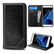 Mybat Genuine Leather Wallet Case for Samsung Galaxy S7 - Black