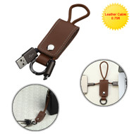 Portable Leather Micro USB Data Sync and Charging Cable with Key Chain - Brown