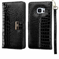 *SALE* Crocodile Embossed Leather Wallet Case for Samsung Galaxy S7 Edge - Black
