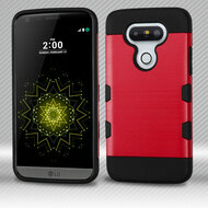 Military Grade Certified TUFF Trooper Dual Layer Hybrid Armor Case for LG G5 - Brushed Red