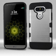 Military Grade Certified TUFF Trooper Dual Layer Hybrid Armor Case for LG G5 - Brushed Silver