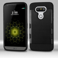 Military Grade Certified TUFF Trooper Dual Layer Hybrid Armor Case for LG G5 - Brushed Black