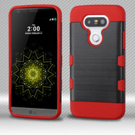 Military Grade Certified TUFF Trooper Dual Layer Hybrid Armor Case for LG G5 - Brushed Black Red