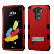 Military Grade Certified TUFF Hybrid Armor Case with Stand for LG G Stylo 2 / Stylus 2 - Red