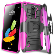 *Sale* Advanced Armor Hybrid Kickstand Case with Holster for LG G Stylo 2 / Stylus 2 - Black Hot Pink
