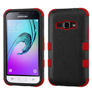 Military Grade TUFF Hybrid Armor Case for Samsung Galaxy Amp 2 / Express 3 / J1 (2016) - Black Red