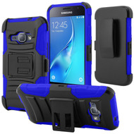 *SALE* Advanced Armor Hybrid Kickstand Case with Holster for Samsung Galaxy Amp 2 / Express 3 / J1 (2016) - Black Blue