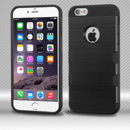 Military Grade Certified TUFF Trooper Dual Layer Hybrid Case for iPhone 6 Plus / 6S Plus - Brushed Black
