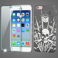 Mod Leather Graphic Case and Tempered Glass Screen Protector for iPhone 6 / 6S - Sword and Skull