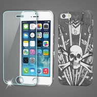 Mod Leather Graphic Case and Tempered Glass Screen Protector for iPhone SE / 5S / 5 - Sword and Skull