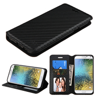*Sale* Book-Style Leather Folio Case for Samsung Galaxy E5 - Carbon Fiber