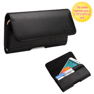 Horizontal Leather Folio Hip Case with Card Slot - Black