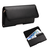 Horizontal Leather Folio Hip Case with Card Slot - Black 402