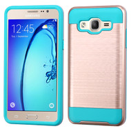 Brushed Hybrid Armor Case for Samsung Galaxy On5 - Rose Gold Teal
