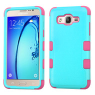 Military Grade Certified TUFF Hybrid Armor Case for Samsung Galaxy On5 - Teal Hot Pink