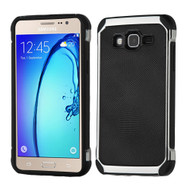 Chrome Tough Anti-Shock Hybrid Case with Leather Backing for Samsung Galaxy On5 - Black