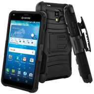 Advanced Armor Hybrid Kickstand Case with Holster for Kyocera Hydro Reach / Hydro Shore / Hydro View - Black