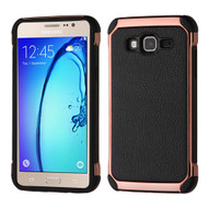 Electroplated Tough Hybrid Case with Leather Backing for Samsung Galaxy On5 - Black