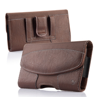 Premium Lateral Leather Pouch Case - Brown