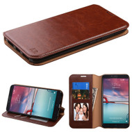 Book-Style Leather Folio Case for ZTE Zmax Pro / Grand X Max 2 / Imperial Max / Max Duo 4G - Brown