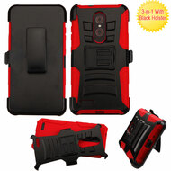 *SALE* Advanced Armor Hybrid Kickstand Case with Holster for ZTE Zmax Pro - Black Red