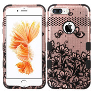 Military Grade TUFF Image Hybrid Armor Case for iPhone 8 Plus / 7 Plus - Lace Flowers Rose Gold