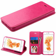 Book-Style Leather Folio Case for iPhone 8 Plus / 7 Plus - Hot Pink
