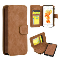 Luxury Coach Series Leather Wallet with Removable Magnet Case for iPhone 8 / 7 - Brown