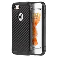 *SALE* Tough Anti-Shock Hybrid Case for iPhone 8 / 7 - Carbon Fiber Black