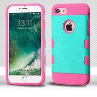 Military Grade Certified TUFF Trooper Dual Layer Hybrid Armor Case for iPhone 8 / 7 - Brushed Teal Hot Pink