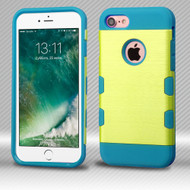 Military Grade Certified TUFF Trooper Dual Layer Hybrid Armor Case for iPhone 8 / 7 - Brushed Yellow Teal