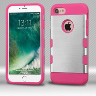 Military Grade TUFF Trooper Dual Layer Hybrid Armor Case for iPhone 8 / 7 - Brushed Silver Hot Pink