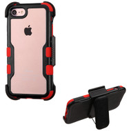 TUFF Vivid Hybrid Armor Case with Holster for iPhone 8 / 7 - Black Red