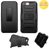 Advanced Armor Hybrid Kickstand Case with Holster for iPhone 8 Plus / 7 Plus - Black