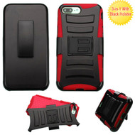 Advanced Armor Hybrid Kickstand Case with Holster for iPhone 8 Plus / 7 Plus - Black Red