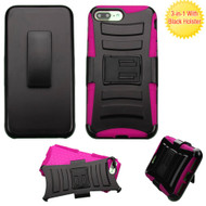 Advanced Armor Hybrid Kickstand Case with Holster for iPhone 8 Plus / 7 Plus - Black Hot Pink