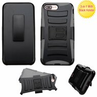 Advanced Armor Hybrid Kickstand Case with Holster for iPhone 8 Plus / 7 Plus - Black Grey