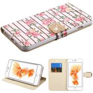 Art Design Portfolio Leather Wallet for iPhone 8 Plus / 7 Plus - Fresh Roses