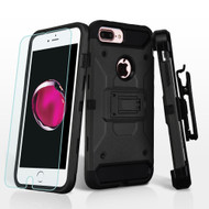3-IN-1 Kinetic Hybrid Armor Case with Holster and Tempered Glass Screen Protector for iPhone 8 Plus / 7 Plus - Black