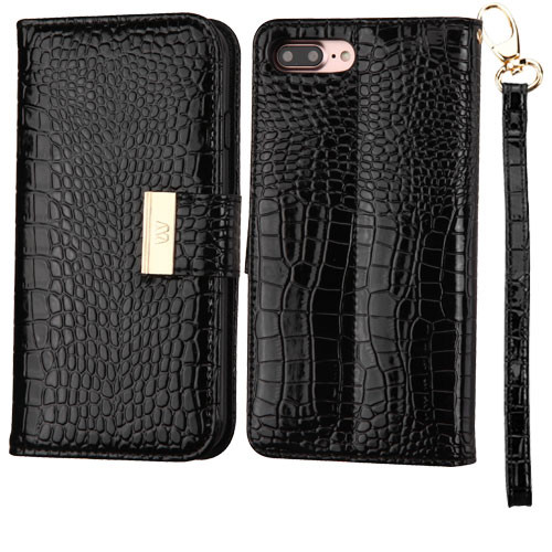 100% authentic b4562 10a46 SALE* Crocodile Embossed Leather Wallet Case for iPhone 8 Plus / 7 ...