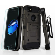 3-IN-1 Kinetic Hybrid Armor Case with Holster and Tempered Glass Screen Protector for iPhone 8 / 7 - Grey